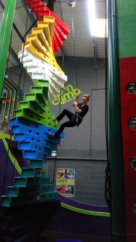 It was fantastic to visit @CnCPreston yesterday and see how much fun everything is!  I am so excited to bring Clip N Climb to Lisburn at part of our new indoor adventure centre High Rise in a couple of months! @EFCCG @VisitLisburn #HighRiseLisburn #ClipNClimb #Lisburn