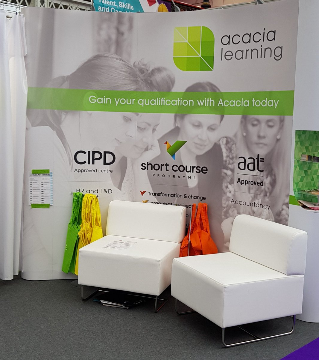 Not long and the doors open on day 2 #festivalofwork #CIPD how can we help you? Come and chat to us on stand E31 @Acacia_Learning
