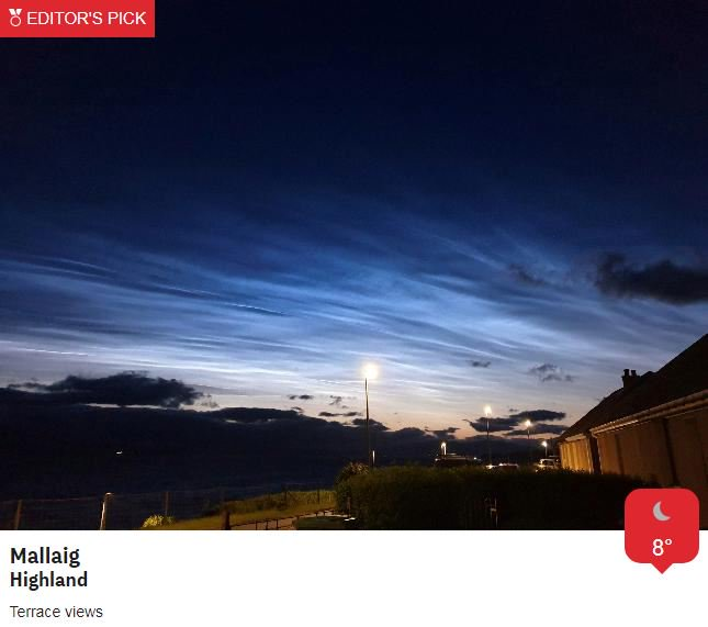 Some lucky enough to stay dry and clear last night also had the added bonus of viewing some rare noctilucent clouds!!These are formed of ice crystals and found some 200,000ft up in part of the atmosphere known as the mesosphere. Aircraft usually fly at around 30,000ft