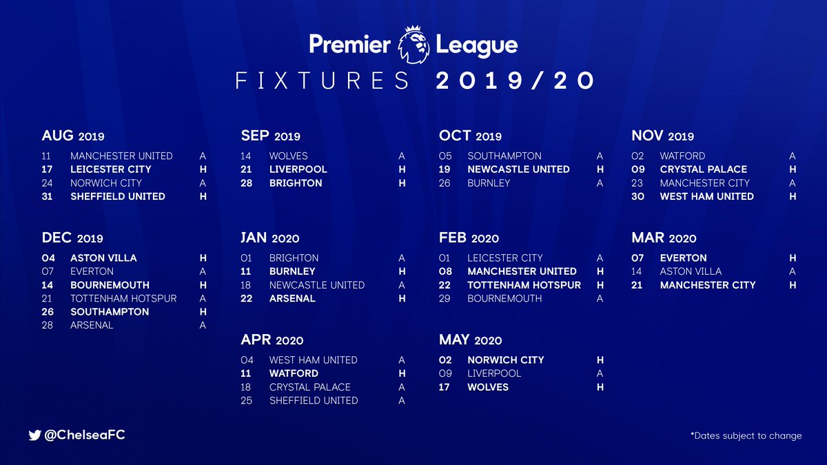 Our 2019/20 @PremierLeague fixtures! 🙌
