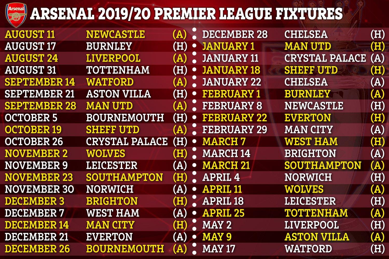 2019/20 Premier League fixtures: Full schedule for Arsenal ...