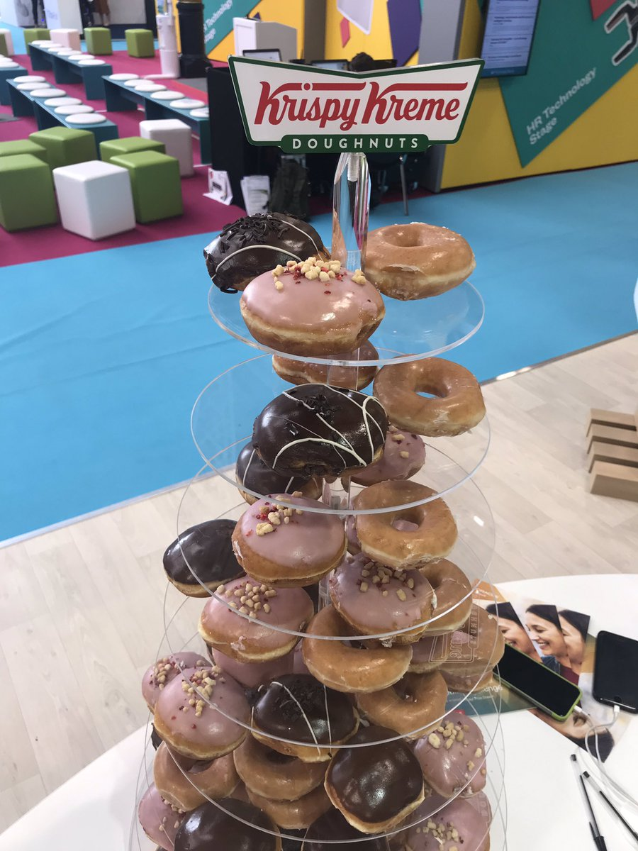 @OracleHCM are back at #CIPD @FestivalofWork with a fresh batch of #krispykreme and the team are ready to take you through our mobile challenge! Stand B130, see you soon
