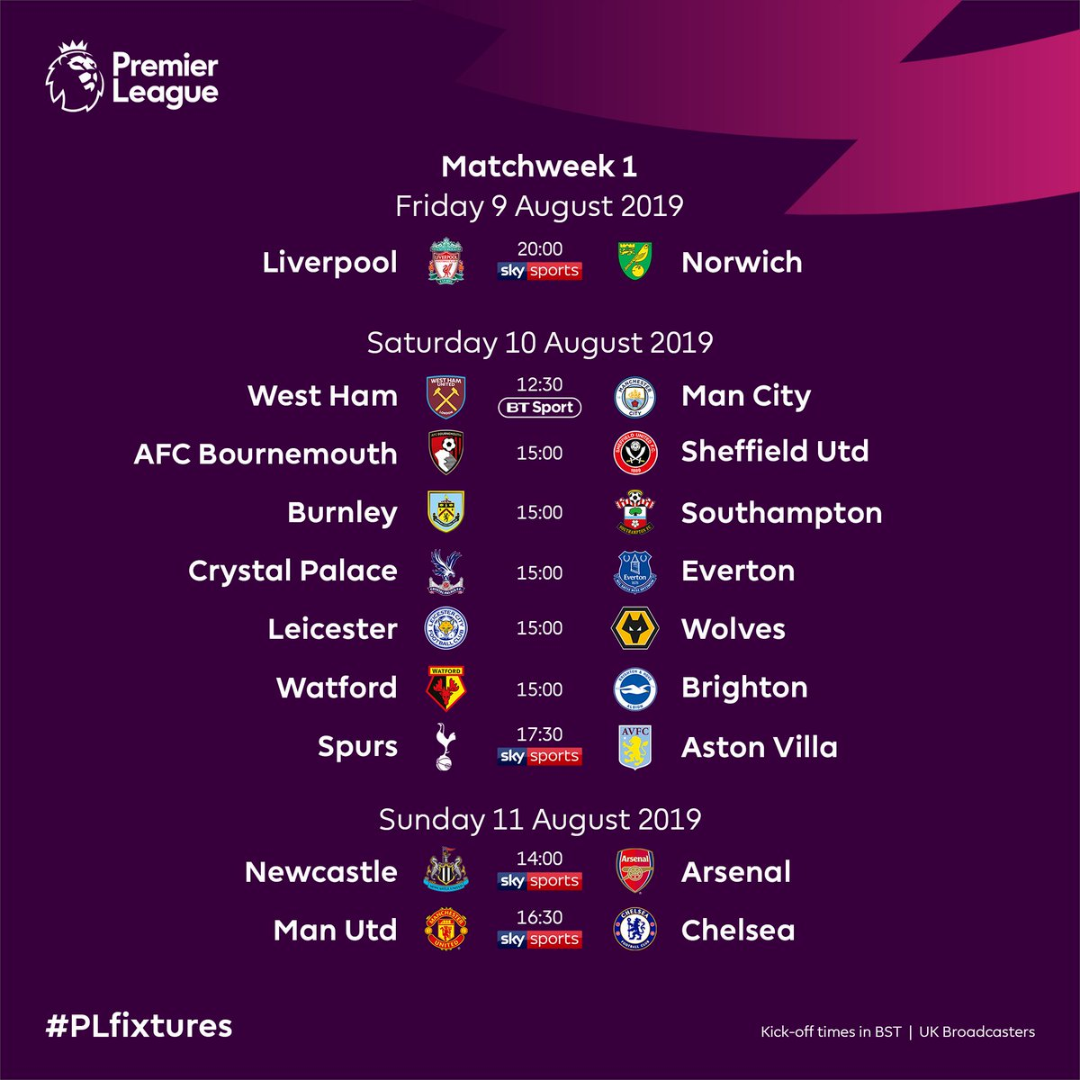 Calendario Premier 2020.Premier League On Twitter Announce 2019 20 Plfixtures