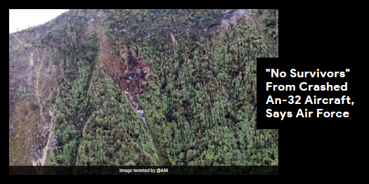 Lead story now on http://ndtv.com: The plane, a Soviet-designed twin engine turboprop transport aircraft, had gone missing around 1 pm on June 3 while flying from Assam's Jorhat to Mechuka, a military landing strip in Arunachal https://www.ndtv.com/india-news/air-force-says-no-survivors-from-the-wreckage-of-an-32-aircraft-that-crashed-in-arunachal-pradesh-2052560…#NDTVLeadStory