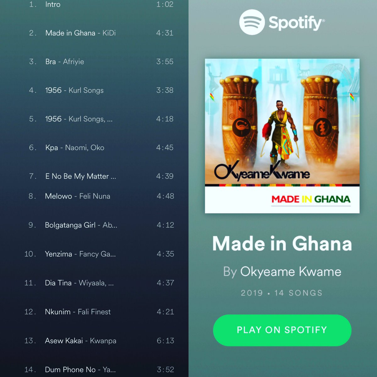 Made in Ghana Album is Available on  @Spotify and all digital stores . Get your copy now .   #MadeinGhana🇬🇭 #MadeinGhanaAlbum #MIG #OKmusic #ItsOK
