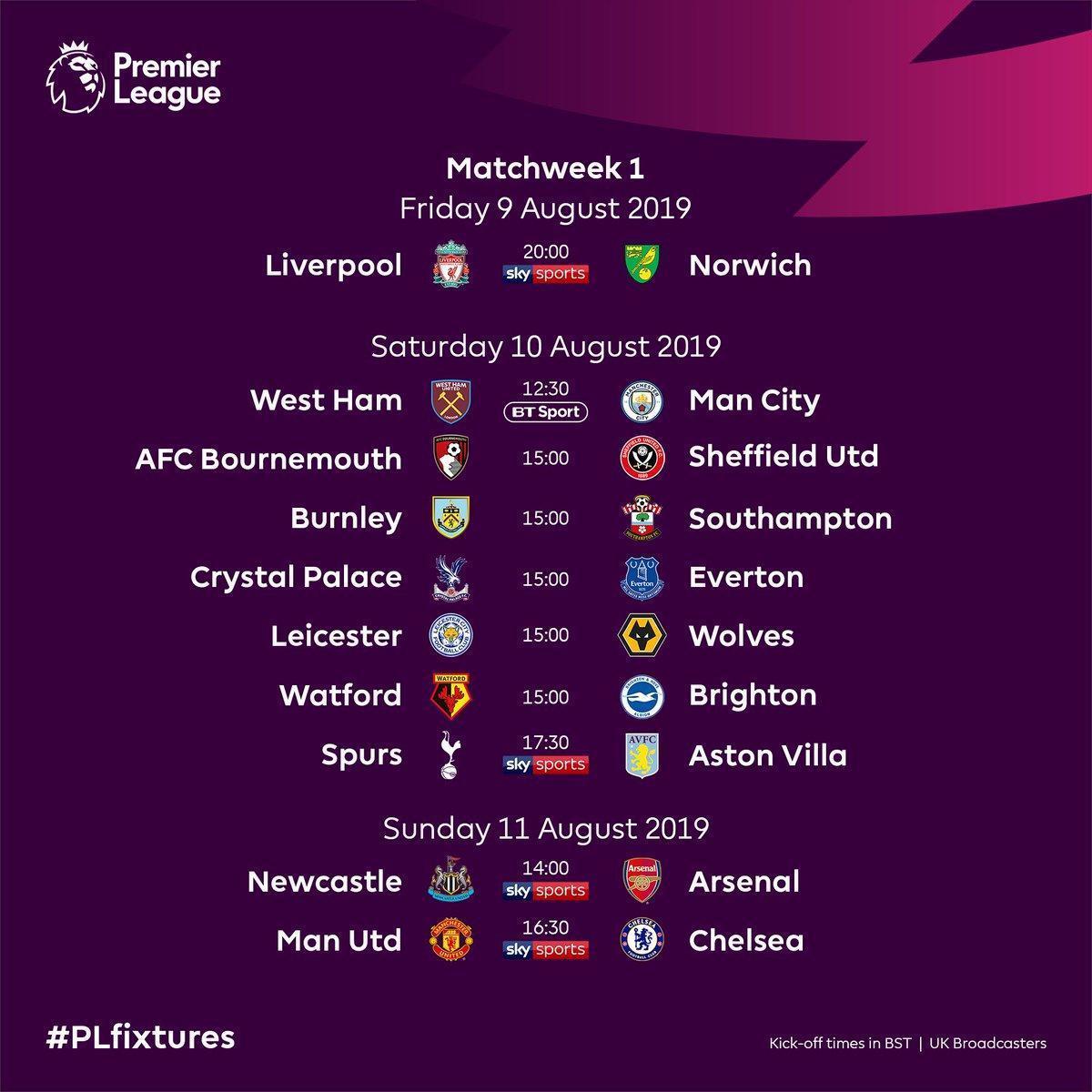 The wait is over! Poznaliśmy terminarz nowego sezonu @premierleague 2019/20! Na inaugurację mecz Liverpool FC - Norwich City w piątek 9 sierpnia o 21:00 na Anfield! @LFC 🔥⚽️ #PremierLeague