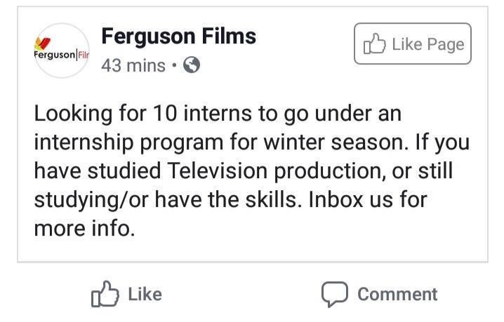 *PSA* We are NOT hiring any interns. We do not have a Facebook page. Please know that the following post and anything similar is FALSE. Please RT and spread the word. @FERGUSON_FILMS