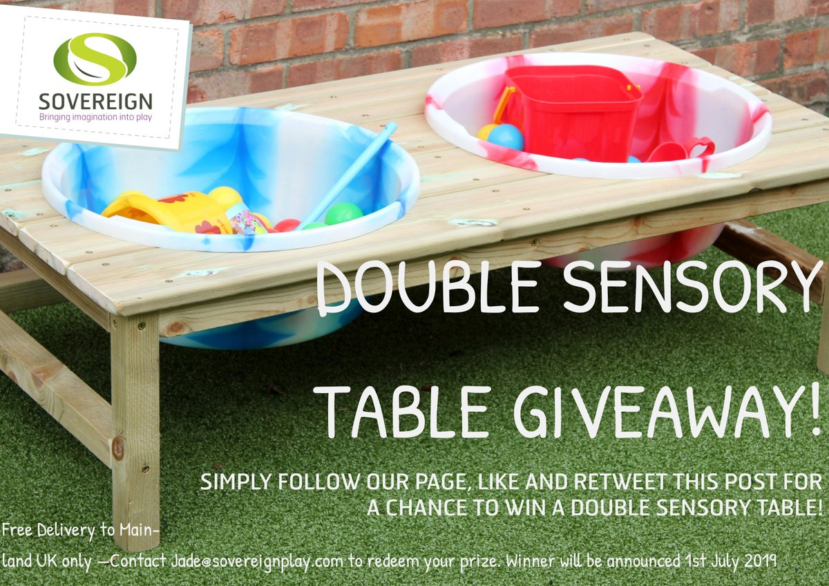 GIVEAWAY TIME! Simply like our page, like and retweet this post for a chance to win this fantastic prize of a Double Sensory Table! #competition #giveaway #prize #sovereignplay #retweettowin #sharetowin #inittowinit #win<br>http://pic.twitter.com/JhkhaH63nl