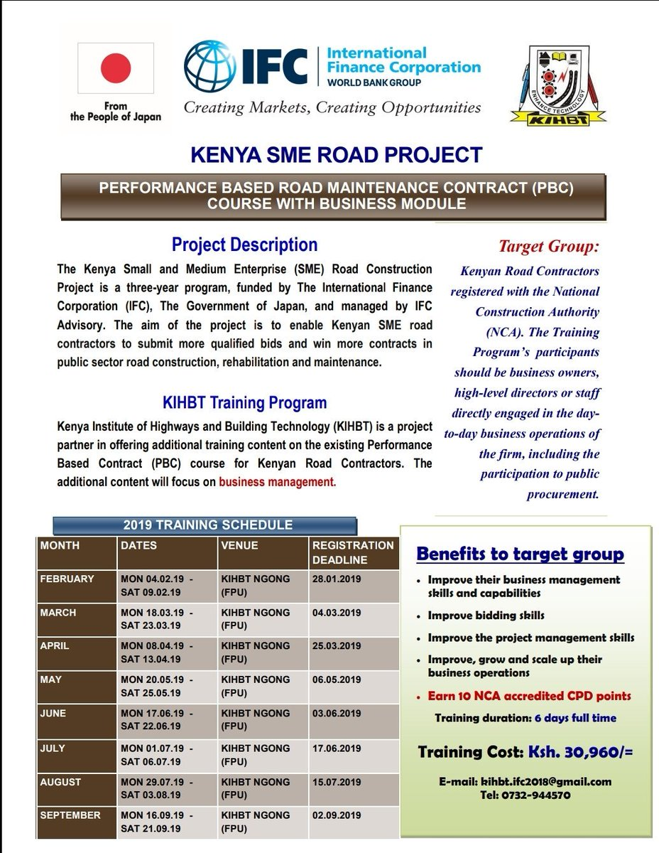 #Training  View the poster to see the 2019 training schedule and register. Register now for the KIBHT training program and get to earn 10 NCA accredited points among other benefits that will help you grow to make a difference. <RG>