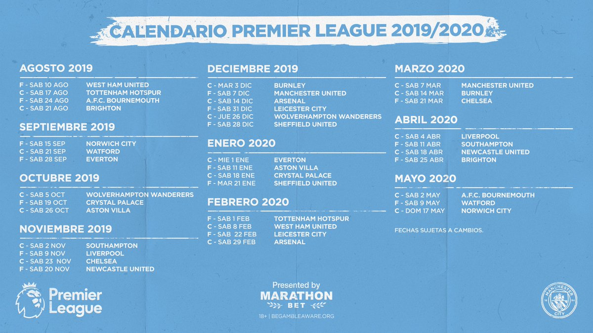 Premier League 2020 Calendario.Manchester City On Twitter Aqui Esta El Calendario De La