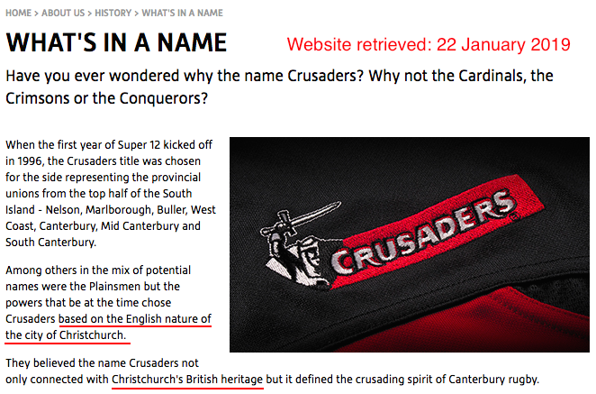 "Oh look! @CrusadersRugby quietly changed their webpage about the history of their team name, to get rid of the stuff about, um, the ""English nature of Christchurch"". That info was correct/relevant/acceptable in January. Now it's gone. No team name change, though -- even in 2020. <br>http://pic.twitter.com/n0PwcpJhii"