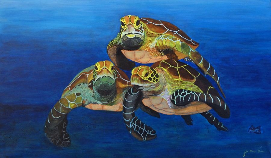 Here is my painting capturing the lovely creatures and see if gou can spot the Coca Cola politants in the painting #worldTurtleDay <br>http://pic.twitter.com/O3qvcfGg5X