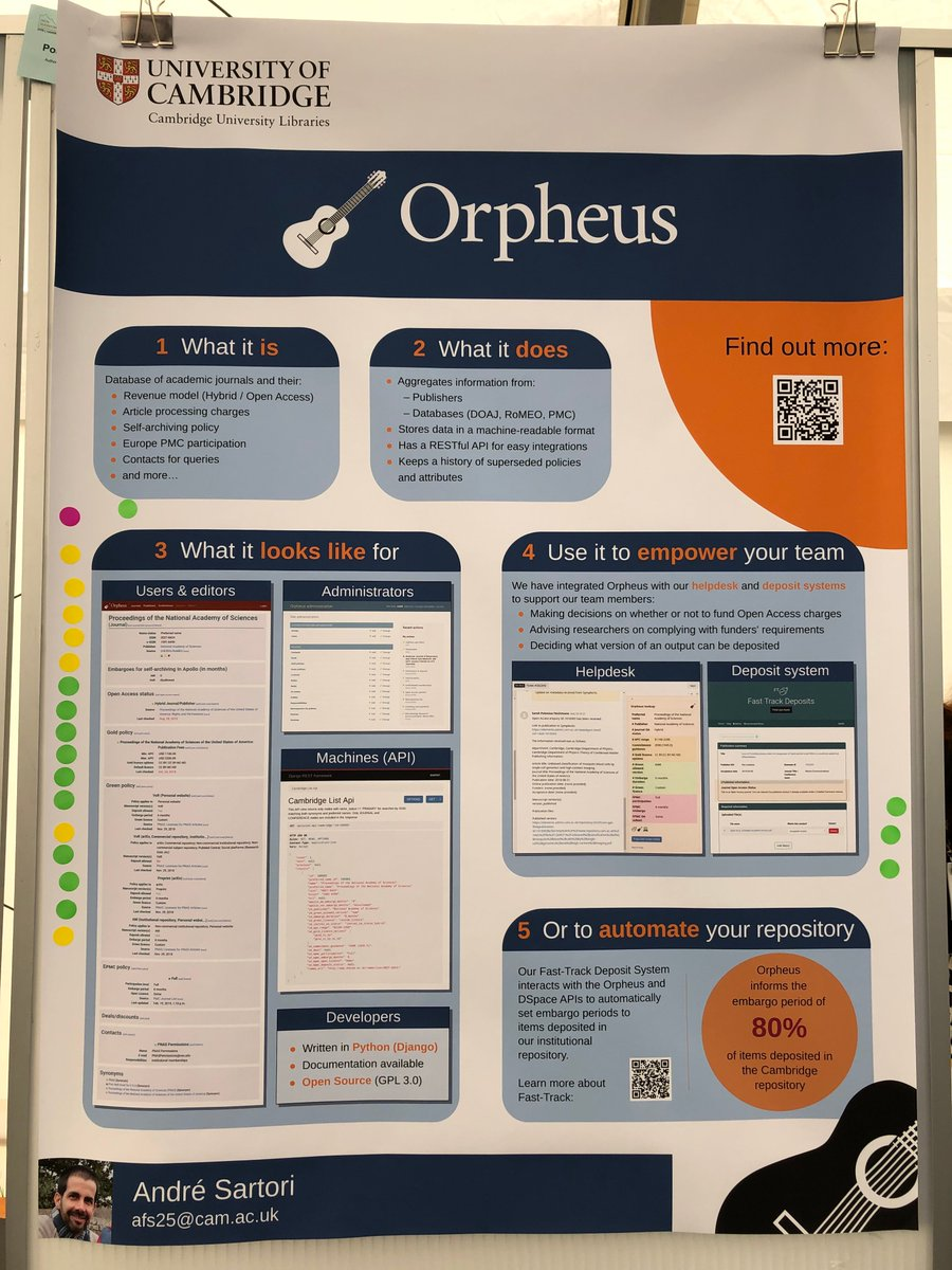 Poster Awards: Best overall (tie!): Introducing Orpheus, an OpenSource database of journals and publishershttps://www.repository.cam.ac.uk/handle/1810/293424… -congratulationsto André Fernando Sartori #OpenRepo2019