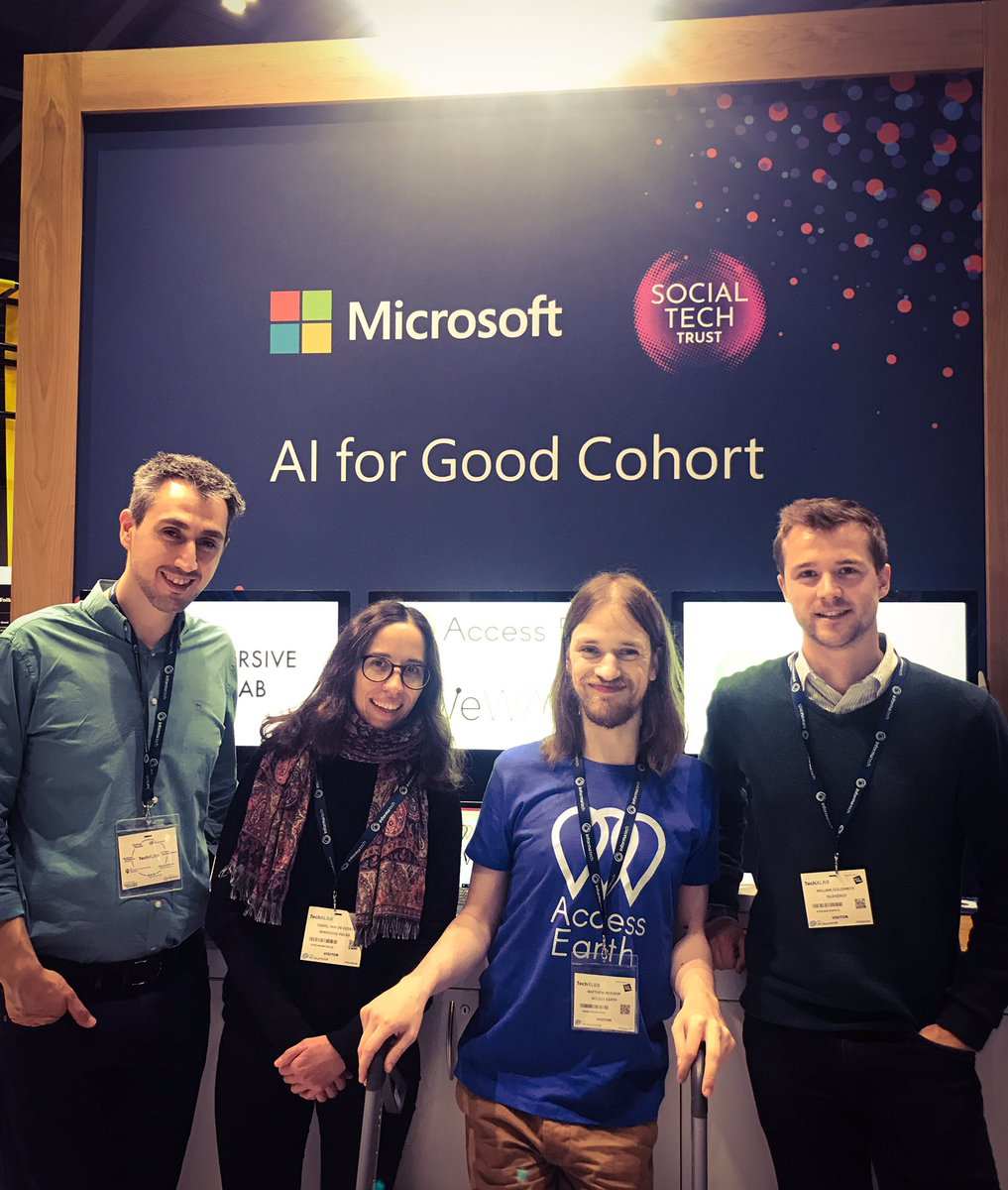 Here they are⭐️4 of our awesome #Ai4Good Cohort taking to stage at the #AISummit as part of #LTW19. Come & learn more about their impactful uses of AI on the @MicrosoftUK stand @wewalkio @ImmersiveRehab @Access_Earth #LondonTechWeek #Tech4Good @msft4startupsEU @SocialTechTrust