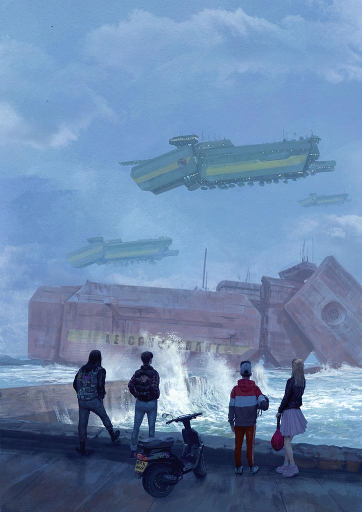"""My cover art for """"things from the flood"""" for the french addon on the 90's was just released. The rpg is based on Simon Stalenhag's work, so I tried to mimic his awesome style.<br>http://pic.twitter.com/ZlA8CrVAqx"""