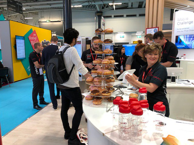 Come out of the rain and join the @OracleHCM team at @FestivalofWork on Stand B130. Bring a smile to your face with donuts and going live on Oracle HCM Cloud in 20 Days.