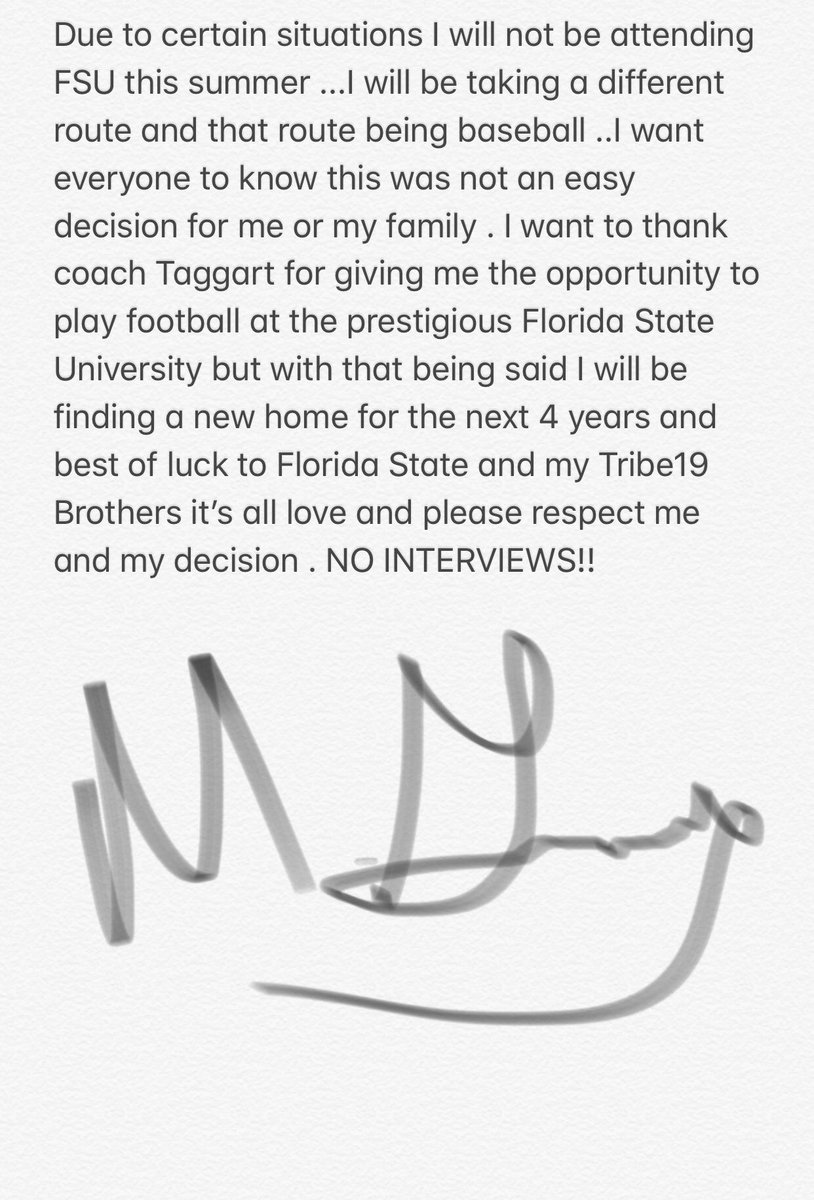 Florida State Freshman WR Announces He's Playing Baseball Instead