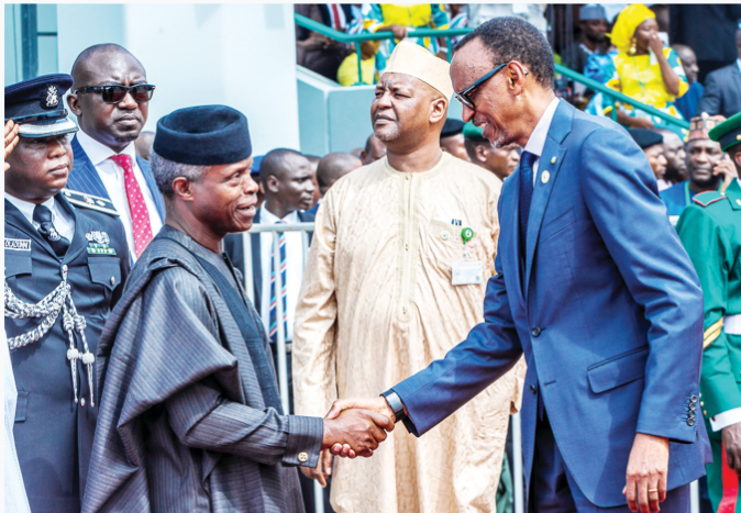 PHOTO: Vice-President, Yemi Osinbajo and the President of Rwanda, Paul Kagame, during the  #DemocracyDay celebration in Abuja on Wednesday.  Photo credit: State House. <br>http://pic.twitter.com/TCPGdsgri0