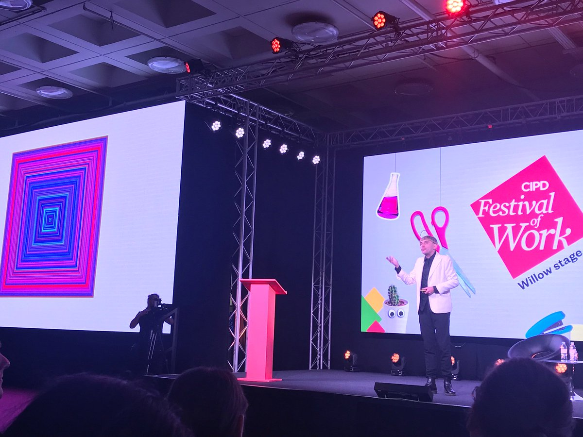 #FestivalofWork unbelievable closing with the worlds first cyborg - colour wheel of Martin Luther Kings 'I have a dream' #cipd #peoplemanagent #cyborgartist