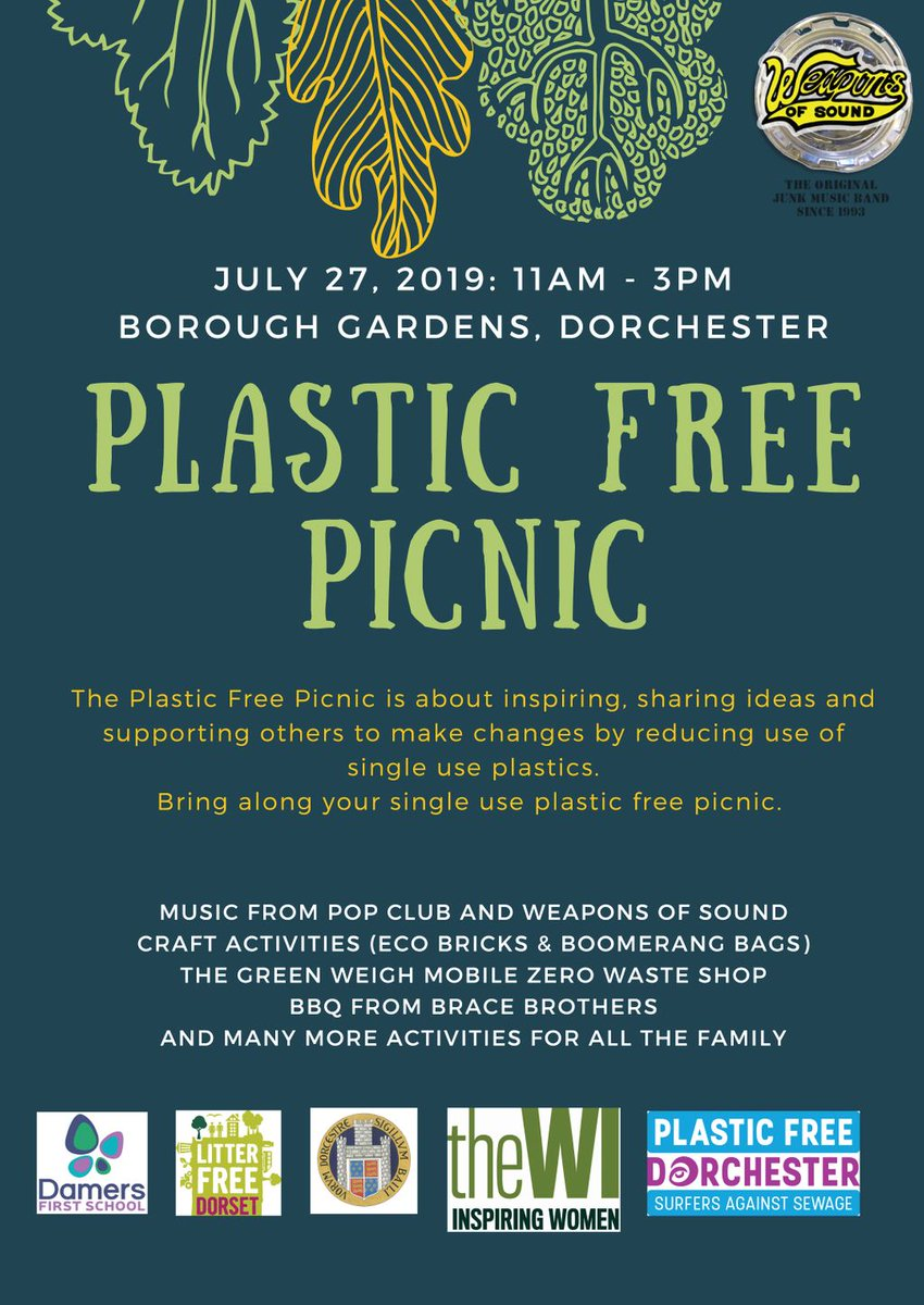 Dorchester is going plastic free! Local organisations and Damers School have organised a Plastic Free Picnic to help you become inspired and share ideas on becoming plastic free.Please note this is NOT a PFD event! #communityevent #plasticfreedorchester #positivechange <br>http://pic.twitter.com/k9bKGLTHx8