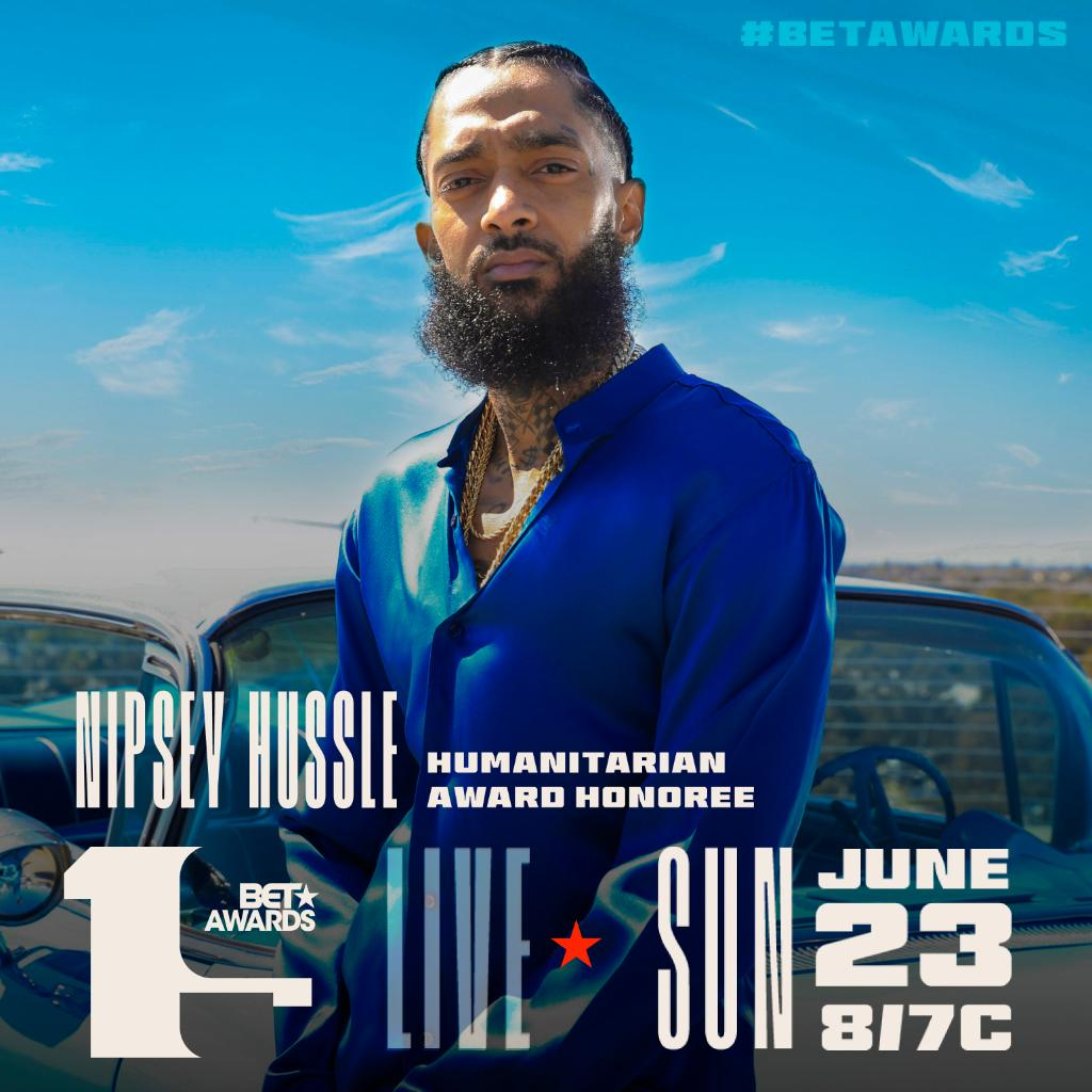 The Marathon Continues   We are honoring the legacy of #NipseyHussle with the Humantarian Award this year at the #BETAwards ! Don't miss the celebration of his life SUN JUN 23 8/7c! <br>http://pic.twitter.com/RNQ2oWHLz1