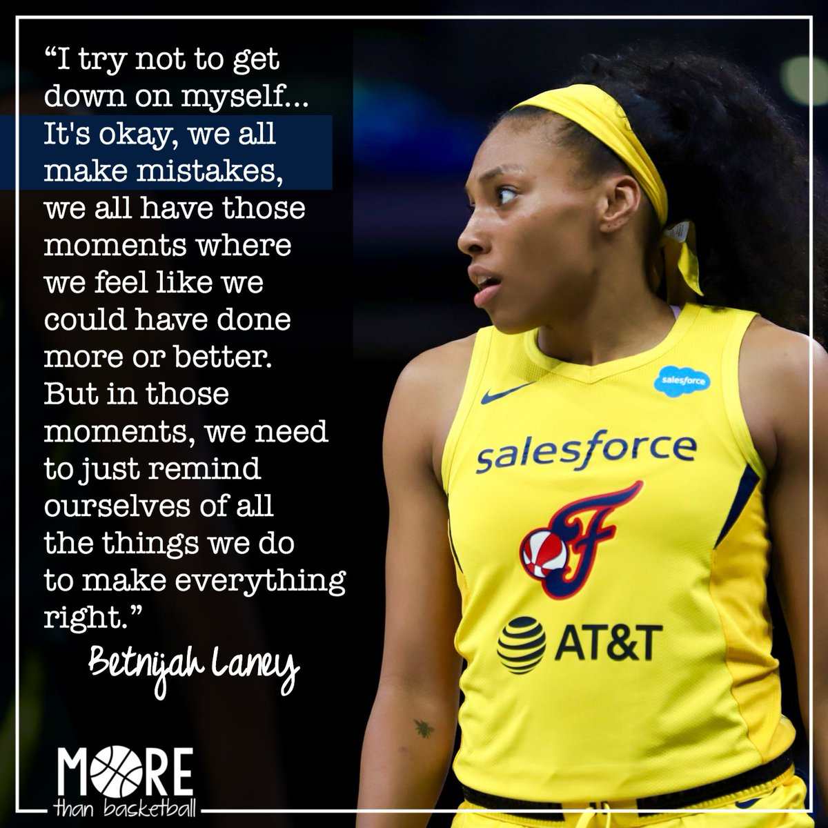 Game Day! Wise words on overcoming disappointment by defensive dynamo @BetnijahLaney. The @indianafever take on the @dallaswings at 8 Eastern. Watch on CBS Sports Network. . #wnba #indianafever #fever20