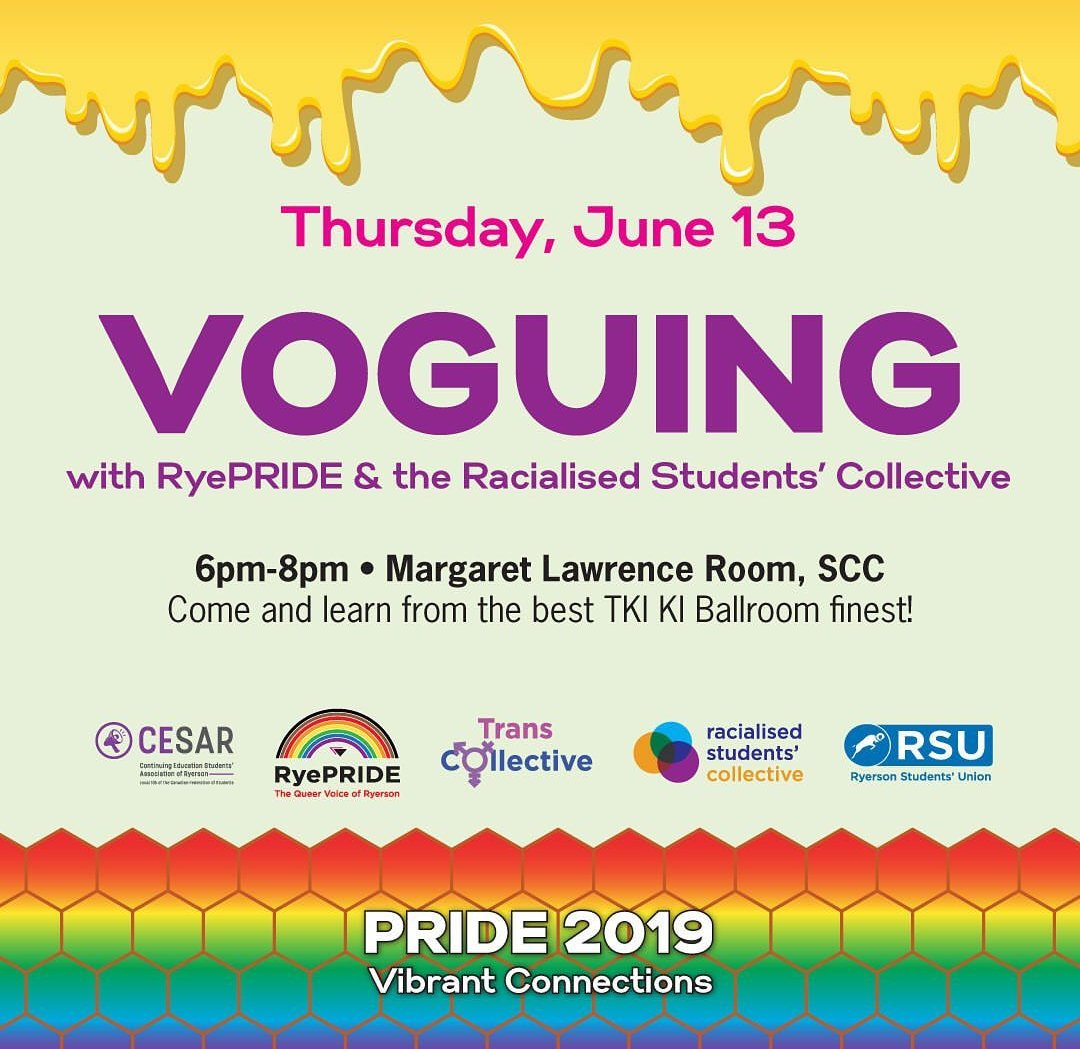 VOGUING 🏳️🌈 Watch amazing performances, hear about the history of voguing and LEARN TO VOGUE yourself 👏🏼👏🏼 Thursday, June 13th! 6 p.m - 8 p.m in the Margaret Lawrence room, SCC  #lgbtq #pride #voguing #torontopride