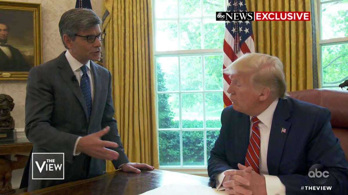 TRUMP ON FOREIGN INTEL: 'I THINK I'D TAKE IT': The co-hosts react to the president telling George Stephanopoulos he wouldn't necessarily alert the FBI if approached by foreign figures with information on his 2020 opponent. https://abcn.ws/2R8UZp2