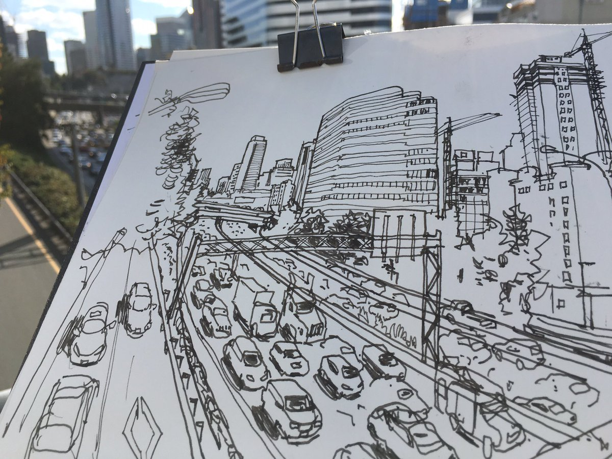 #TBT As my bus slows down to a crawl this morning, I'm reminded of sketching rush hour traffic three years ago for this @seattletimes column: https://www.seattletimes.com/seattle-news/let-the-rush-hour-begin/… Happy Thursday, everyone! #seattletraffic @STtrafficlab