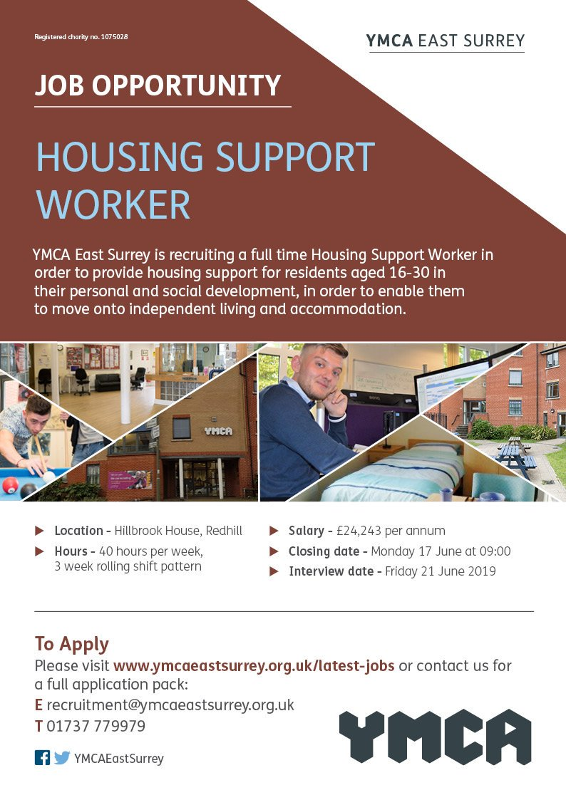 We are recruiting for a Housing Support Worker to help with the personal and social development of our residents @YMCAHillbrook House. Please see full details at ymcaeastsurrey.org.uk/jobs/housing-s… #Redhill #youthwork #homelessness #ThursdayMotivation @SurreyYF @reigatebanstead