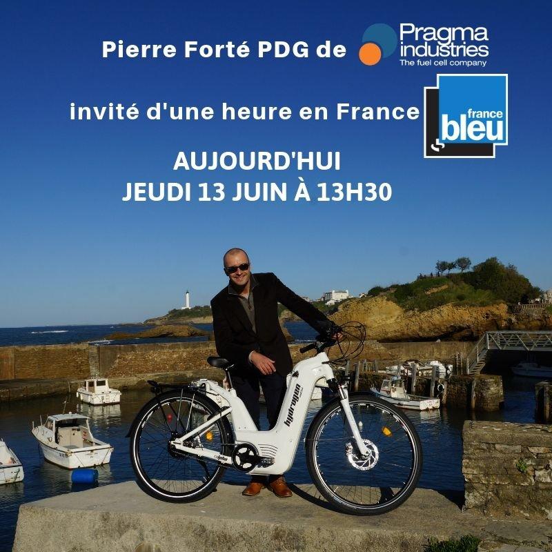 Pierre Forté PDG de @PragmaFuelCells invité d'une heure en France en ce moment sur @francebleucom #H2bike #H2Now  #smartMobility #innovation #frenchTech  #G7 #Technology #mobility #fuelCell #hydrogen #alphaBike
