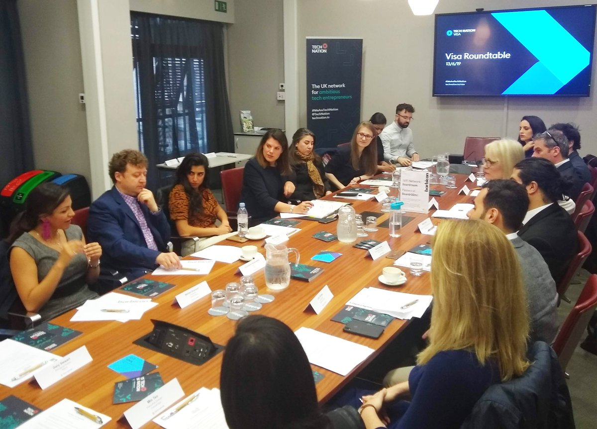 Powerful and insightful roundtable with the Tech Nation #Visa alumni sharing their inspiring stories and journeys with @DCMS Digital Minister @margot_james_mp & @ukhomeoffice Immigration Minister @carolinenokes, at @BarbicanCentre this afternoon for #LTW