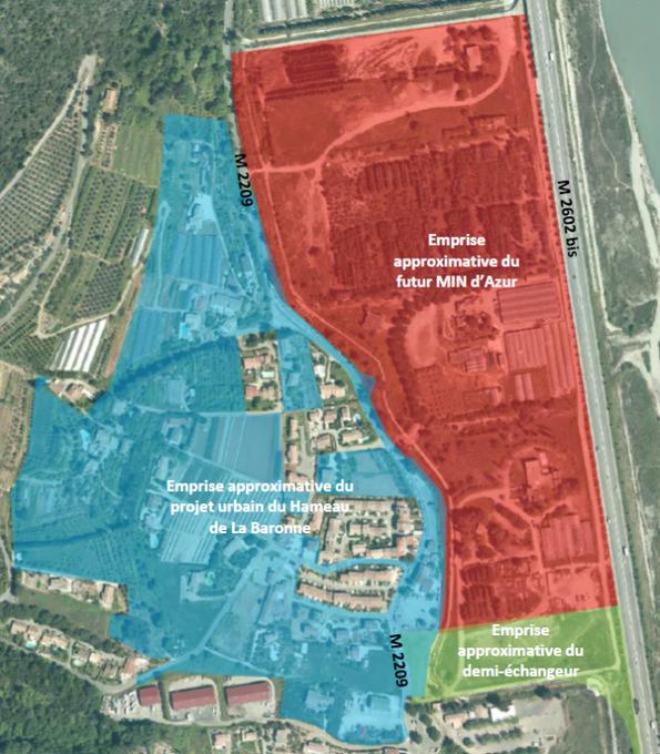 Emprise approximative de l'opération d'aménagement du Hameau de La Baronne à La Gaude. Opération sur 16 hectares, pour 42 900 m² de surfaces dont 560 logements env. et 2 500 m² de commerces/services. Le tout en face du futur MIN.