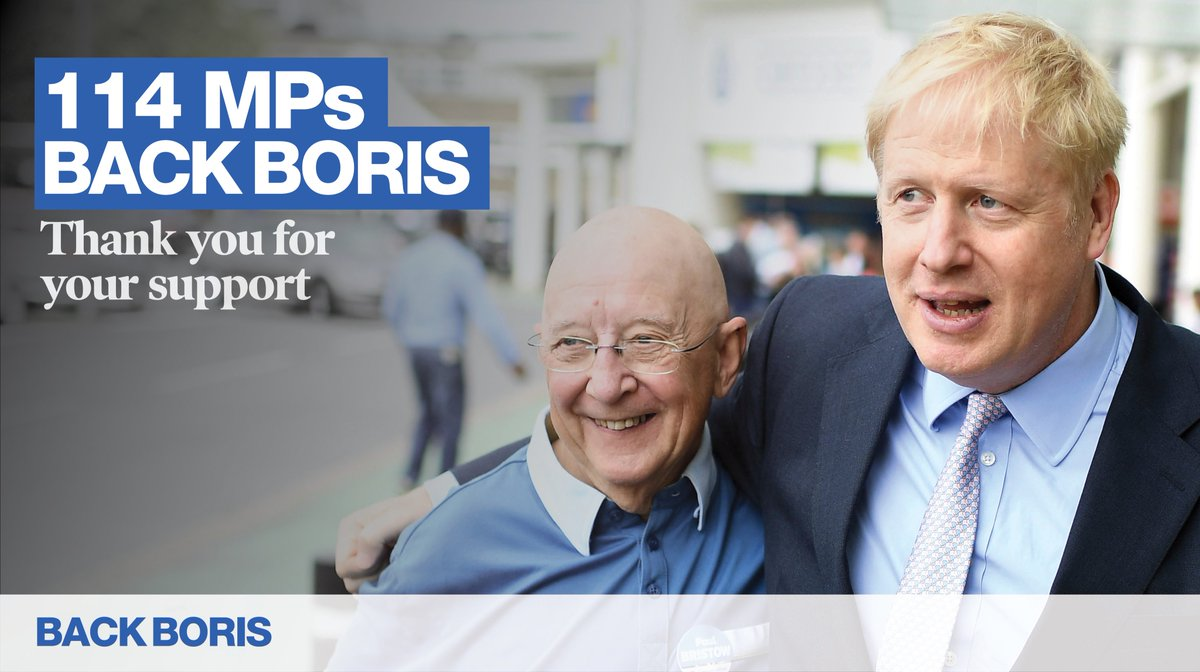 Thank you to my friends and colleagues in the Conservative & Unionist Party for your support. I am delighted to win the first ballot, but we have a long way to go. backboris.com | @BackBoris