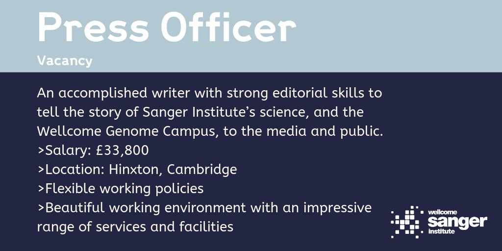 Looking for a creative individual, driven by delivering quality media and public relation materials, to join @sangerinstitute as a #PressOfficer   ➡️http://bit.ly/SangerPressOfficer… Closes 23rd June.   #commsjobs #cambridgejobs