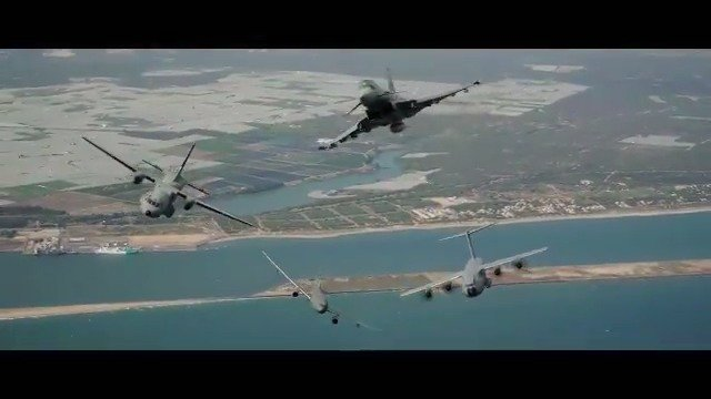The Airbus military aircraft family reunited in the air is a thing you don't want to miss! 👀 Watch the A330 MRTT, A400M, C295 and Eurofighter Typhoon special formation flight celebrating #Airbus50   Full video on our new Facebook account! ➡️ https://www.facebook.com/AirbusDefence/ #WeMakeItFly