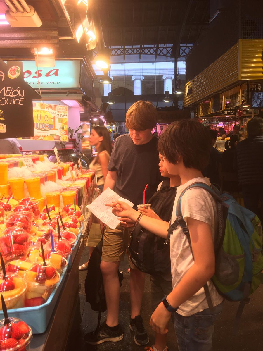 Students practising their Spanish at Mercado de La Boqueria in Barcelona - probably the best market in the world.