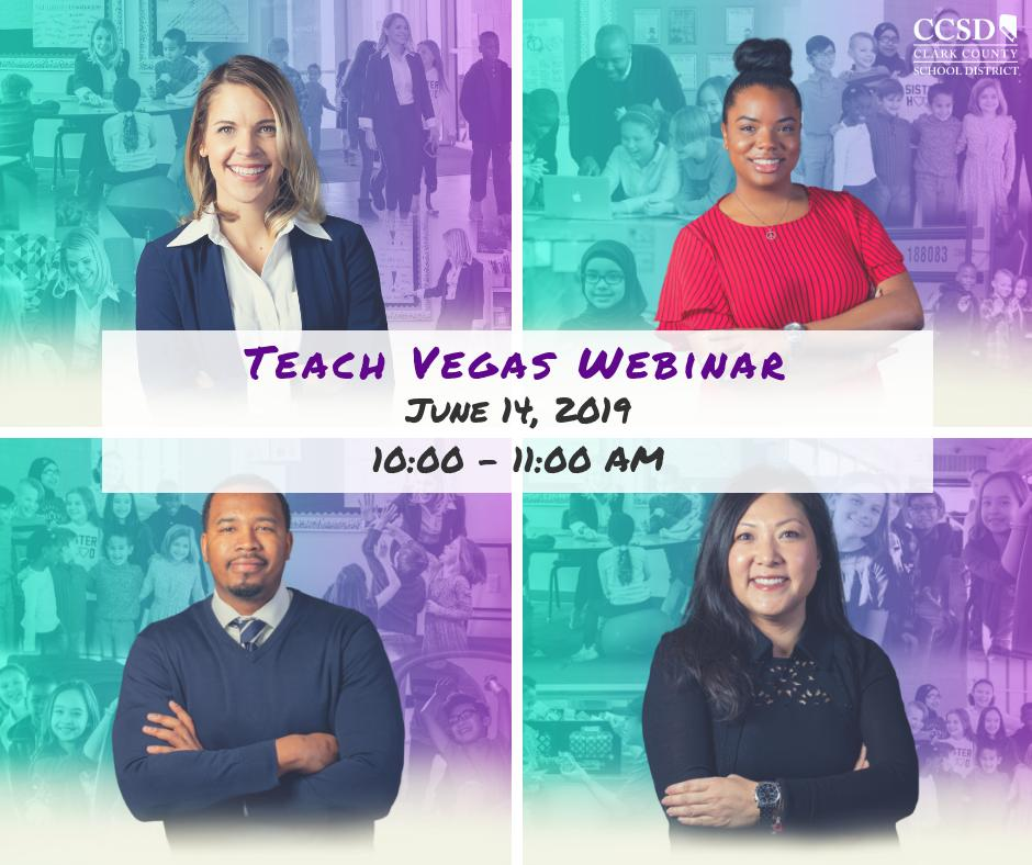 Can't make it to a job fair but want to learn more about the Clark County School District and the employment opportunities available?  Join us this Friday for our Teach Vegas Webinar! Find out how you can join our CCSD family. Register today, at: https://bit.ly/2wjZxyQ
