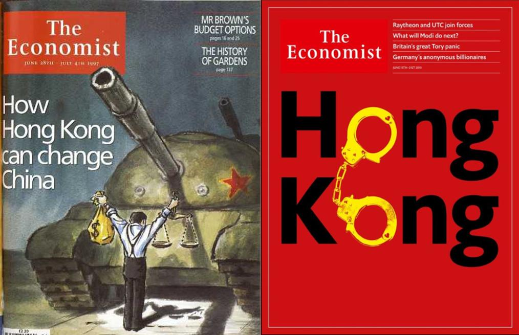 The Economist's front covers say it all, from (June 1997) Hong Kong the city which can liberalise China to (June 2019) Hong Kong the city whose future is at stake. #NoExtraditionToChina #HongKongProtests