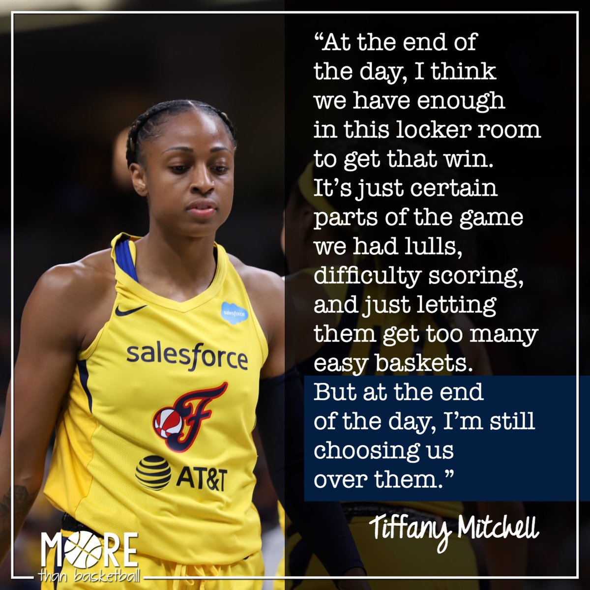 The @indianafever take on the @dallaswings tonight at 8 Eastern. (📺:CBS Sports Network) Despite 2 tough losses this week, @TiffMitch25 believes in her team's ability to win. . #wnba #indianafever #fever20 #allforlove