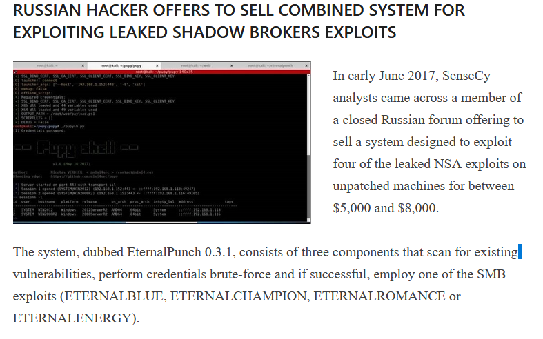 The tool had been once advertised on Russian hacking forums