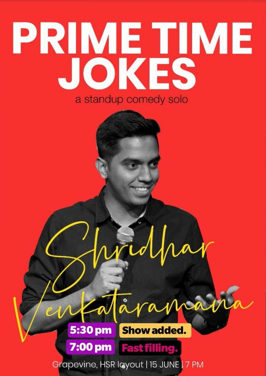 My standup solo show on 15th June, Saturday in Bangalore. 7PM show is almost sold out. Get your tickets for the 5.30PM show on Bookmyshow right away 🙂 The show is at Grapevine, HSR Layout, Bangalore. Hoping to see some of you :)