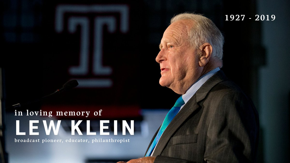 It is with a heavy heart that we share news with you that Lew Klein has passed away. The loss to our college, and to many of us personally, is immeasurable. news.temple.edu/news/2019-06-1…