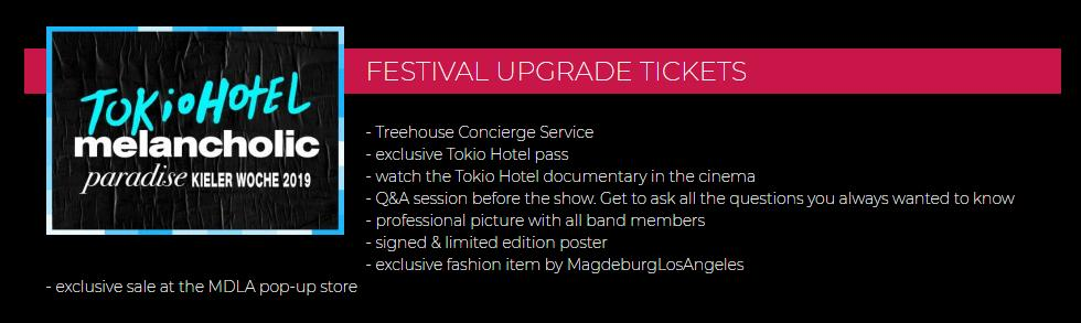 Tokio Hotel's VIP upgrades for Kieler Woche 2019 on sale soon