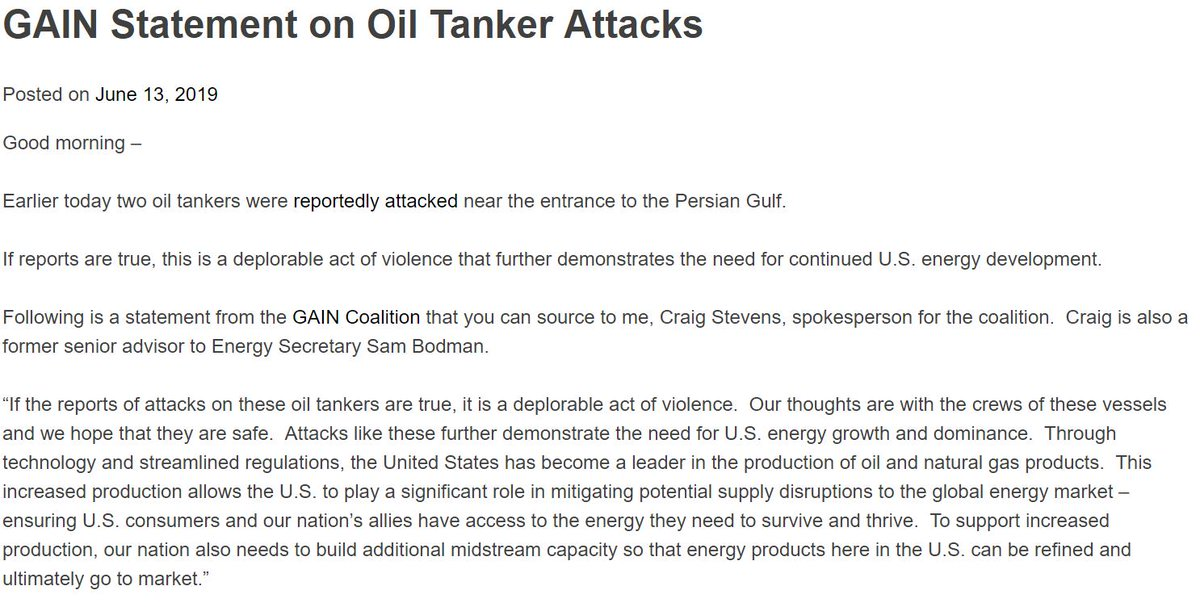 GAIN Coalition Statement on Oil Tanker Attacks near Persian Gulf