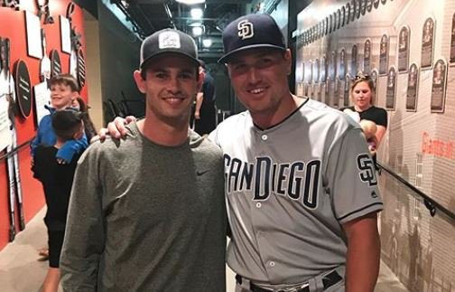 Former Tiger WR and now Oakland Raider  Hunter Renfrow, met current San Diego Padres Hunter Renfroe last week. Since the meeting Renfroe has hit 5 home runs in 4 games. Renfroe by the way was the #13 pick of the 2013 MLB draft. Renfrow wore #13 at Clemson. <br>http://pic.twitter.com/SCLQHkRAed