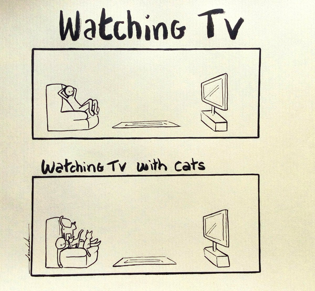 Watching TV with cats #dailyart #dailyillustration #cats #watchingtv #pets #animals https://t.co/Qq8ZH5X2pM