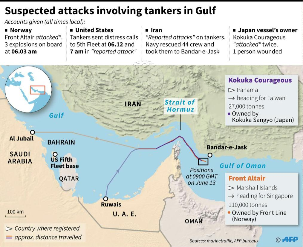 Oil price jumps after Gulf of Oman tanker 'attacks' - as it