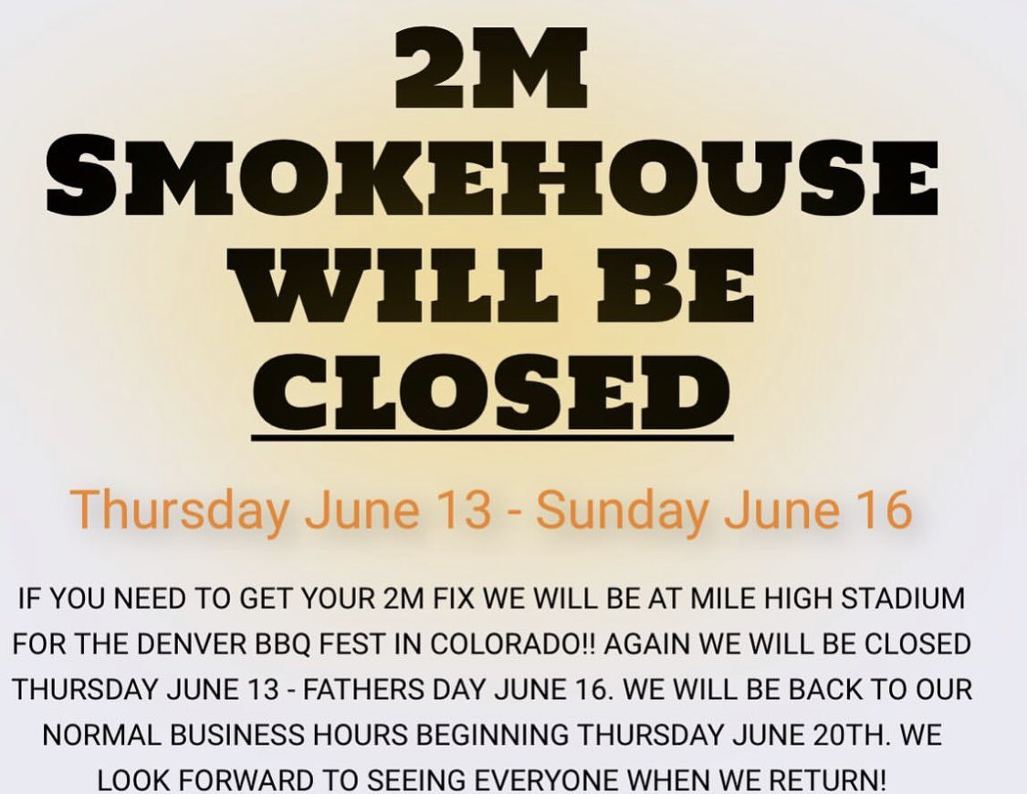 PSA we will be closed this week for the @DenverBBQFest