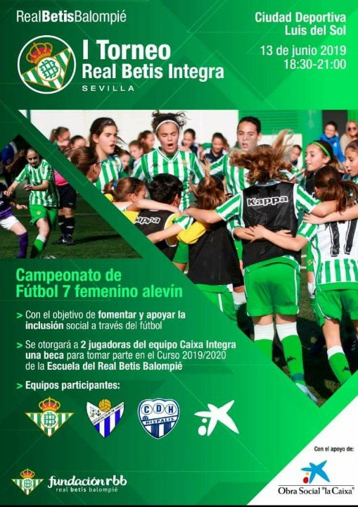 Nuestro equipo alevín disputa hoy a partir de las 18:30 el I Torneo Real Betis Integra. El primer encuentro será ante el C.D. Híspalis. ¡Vamos, espartanas!
